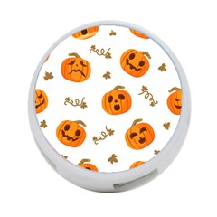 Funny Spooky Halloween Pumpkins Pattern White Orange 4 Port Usb Hub (one Side)