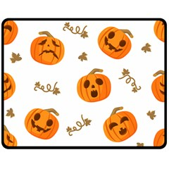 Funny Spooky Halloween Pumpkins Pattern White Orange Fleece Blanket (medium)