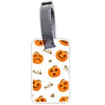 Funny Spooky Halloween Pumpkins Pattern White Orange Luggage Tags (Two Sides) Front