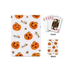 Funny Spooky Halloween Pumpkins Pattern White Orange Playing Cards (mini)
