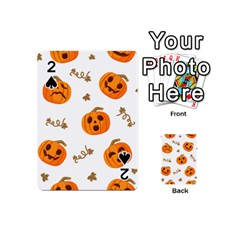Funny Spooky Halloween Pumpkins Pattern White Orange Playing Cards 54 (mini)
