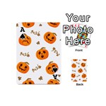 Funny Spooky Halloween Pumpkins Pattern White Orange Playing Cards 54 (Mini) Front - SpadeA
