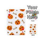 Funny Spooky Halloween Pumpkins Pattern White Orange Playing Cards 54 (Mini) Front - Heart7