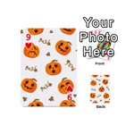 Funny Spooky Halloween Pumpkins Pattern White Orange Playing Cards 54 (Mini) Front - Heart9