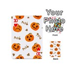 Funny Spooky Halloween Pumpkins Pattern White Orange Playing Cards 54 (Mini) Front - Heart10