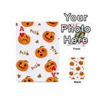 Funny Spooky Halloween Pumpkins Pattern White Orange Playing Cards 54 (Mini) Front - HeartA