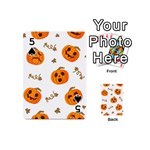 Funny Spooky Halloween Pumpkins Pattern White Orange Playing Cards 54 (Mini) Front - Spade5
