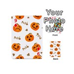 Funny Spooky Halloween Pumpkins Pattern White Orange Playing Cards 54 (Mini) Front - Diamond9