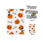 Funny Spooky Halloween Pumpkins Pattern White Orange Playing Cards 54 (Mini) Front - Club10