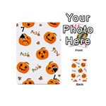 Funny Spooky Halloween Pumpkins Pattern White Orange Playing Cards 54 (Mini) Front - Spade7