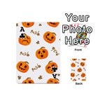 Funny Spooky Halloween Pumpkins Pattern White Orange Playing Cards 54 (Mini) Front - ClubA