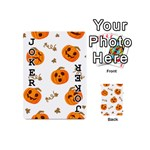 Funny Spooky Halloween Pumpkins Pattern White Orange Playing Cards 54 (Mini) Front - Joker1