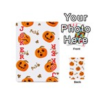 Funny Spooky Halloween Pumpkins Pattern White Orange Playing Cards 54 (Mini) Front - Joker2