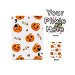 Funny Spooky Halloween Pumpkins Pattern White Orange Playing Cards 54 (Mini) Front - Spade9