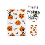 Funny Spooky Halloween Pumpkins Pattern White Orange Playing Cards 54 (Mini) Front - Spade10