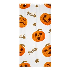 Funny Spooky Halloween Pumpkins Pattern White Orange Shower Curtain 36  X 72  (stall)