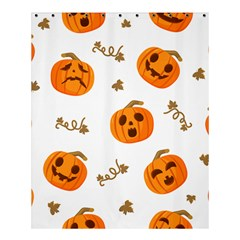 Funny Spooky Halloween Pumpkins Pattern White Orange Shower Curtain 60  X 72  (medium)