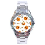 Funny Spooky Halloween Pumpkins Pattern White Orange Stainless Steel Analogue Watch Front