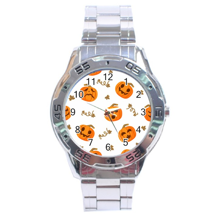 Funny Spooky Halloween Pumpkins Pattern White Orange Stainless Steel Analogue Watch