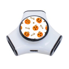 Funny Spooky Halloween Pumpkins Pattern White Orange 3 Port Usb Hub