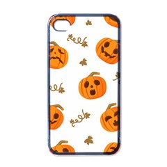 Funny Spooky Halloween Pumpkins Pattern White Orange Apple Iphone 4 Case (black)