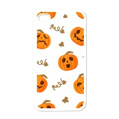 Funny Spooky Halloween Pumpkins Pattern White Orange Apple Iphone 4 Case (white)