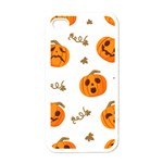 Funny Spooky Halloween Pumpkins Pattern White Orange Apple iPhone 4 Case (White) Front