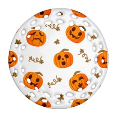Funny Spooky Halloween Pumpkins Pattern White Orange Ornament (round Filigree)