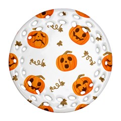 Funny Spooky Halloween Pumpkins Pattern White Orange Round Filigree Ornament (two Sides)