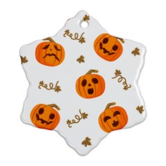 Funny Spooky Halloween Pumpkins Pattern White Orange Snowflake Ornament (two Sides)