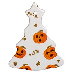 Funny Spooky Halloween Pumpkins Pattern White Orange Christmas Tree Ornament (two Sides)
