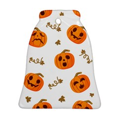 Funny Spooky Halloween Pumpkins Pattern White Orange Bell Ornament (two Sides) by HalloweenParty