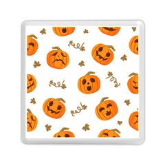 Funny Spooky Halloween Pumpkins Pattern White Orange Memory Card Reader (square)