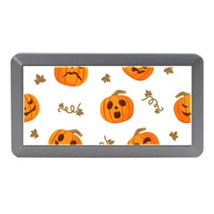 Funny Spooky Halloween Pumpkins Pattern White Orange Memory Card Reader (mini) by HalloweenParty