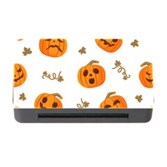 Funny Spooky Halloween Pumpkins Pattern White Orange Memory Card Reader With Cf