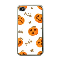 Funny Spooky Halloween Pumpkins Pattern White Orange Apple Iphone 4 Case (clear)