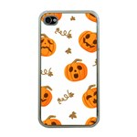 Funny Spooky Halloween Pumpkins Pattern White Orange Apple iPhone 4 Case (Clear) Front