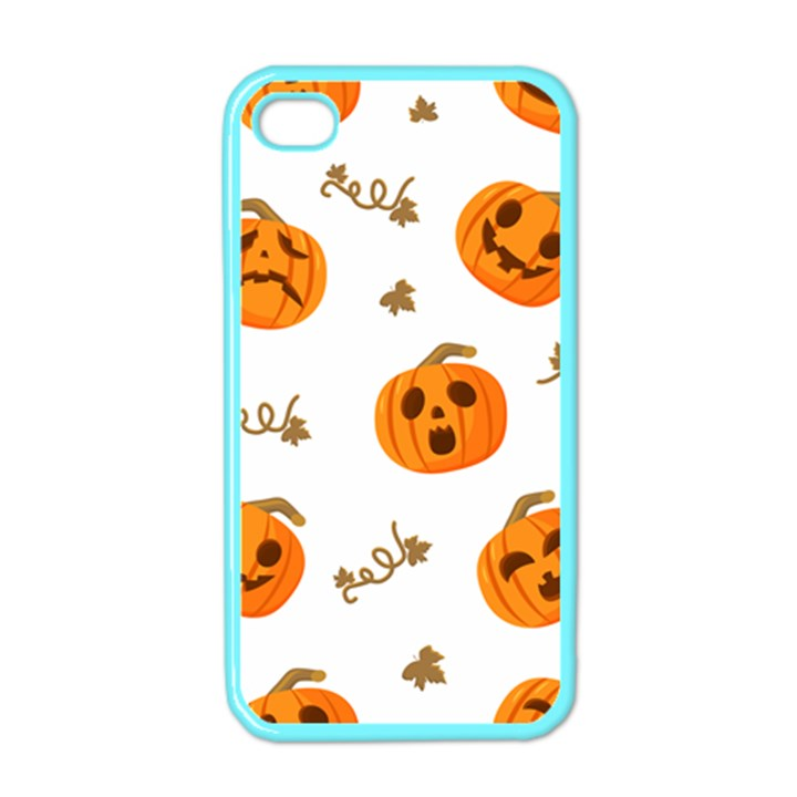Funny Spooky Halloween Pumpkins Pattern White Orange Apple iPhone 4 Case (Color)