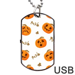 Funny Spooky Halloween Pumpkins Pattern White Orange Dog Tag Usb Flash (one Side)