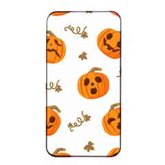 Funny Spooky Halloween Pumpkins Pattern White Orange Apple Iphone 4/4s Seamless Case (black)