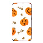 Funny Spooky Halloween Pumpkins Pattern White Orange Apple iPhone 4/4s Seamless Case (Black) Front