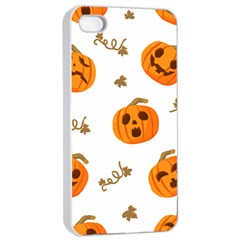 Funny Spooky Halloween Pumpkins Pattern White Orange Apple Iphone 4/4s Seamless Case (white)