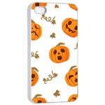 Funny Spooky Halloween Pumpkins Pattern White Orange Apple iPhone 4/4s Seamless Case (White) Front