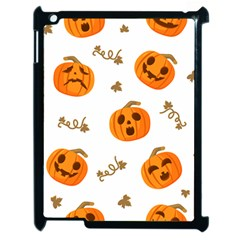 Funny Spooky Halloween Pumpkins Pattern White Orange Apple Ipad 2 Case (black)