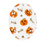 Funny Spooky Halloween Pumpkins Pattern White Orange Oval Filigree Ornament (Two Sides) Front