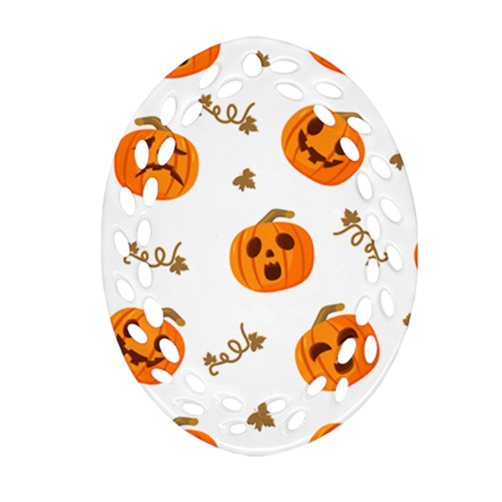 Funny Spooky Halloween Pumpkins Pattern White Orange Oval Filigree Ornament (Two Sides)