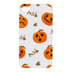Funny Spooky Halloween Pumpkins Pattern White Orange Apple Iphone 4/4s Hardshell Case by HalloweenParty