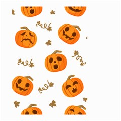 Funny Spooky Halloween Pumpkins Pattern White Orange Small Garden Flag (two Sides)