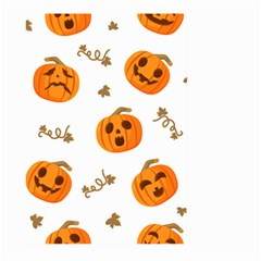 Funny Spooky Halloween Pumpkins Pattern White Orange Large Garden Flag (two Sides)