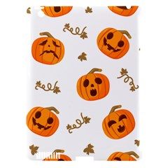 Funny Spooky Halloween Pumpkins Pattern White Orange Apple Ipad 3/4 Hardshell Case (compatible With Smart Cover)